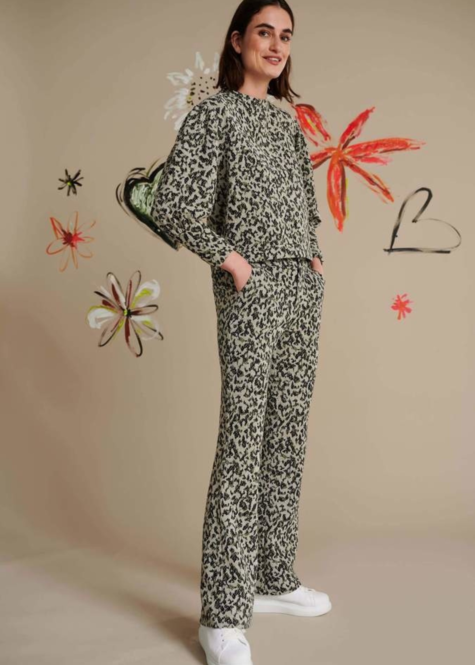 Pom Amsterdam Pants - Kate Khaki Green Shimmer
