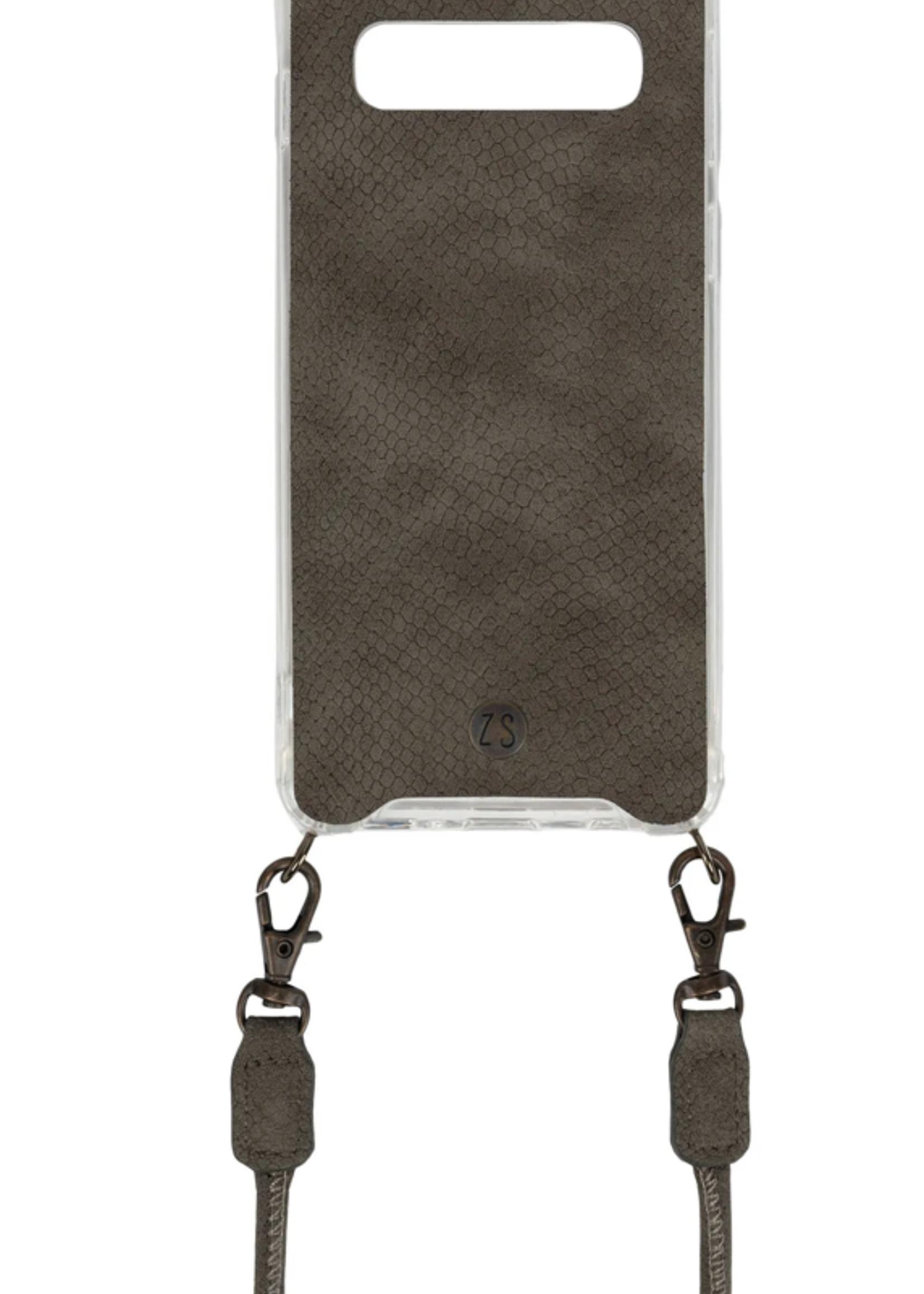 Zusss Telefoonhoesje met koord samsung S10 snake grijs groen