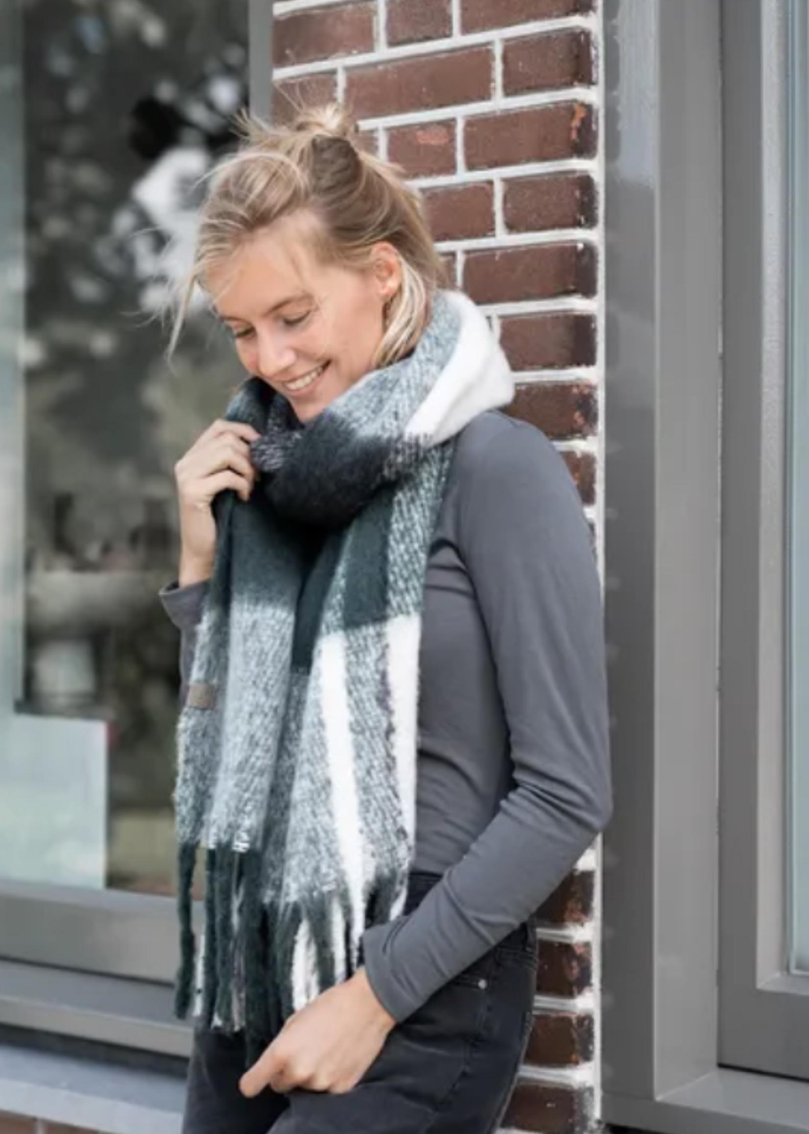 Zusss Gruite sjaal met franjes donkergroen