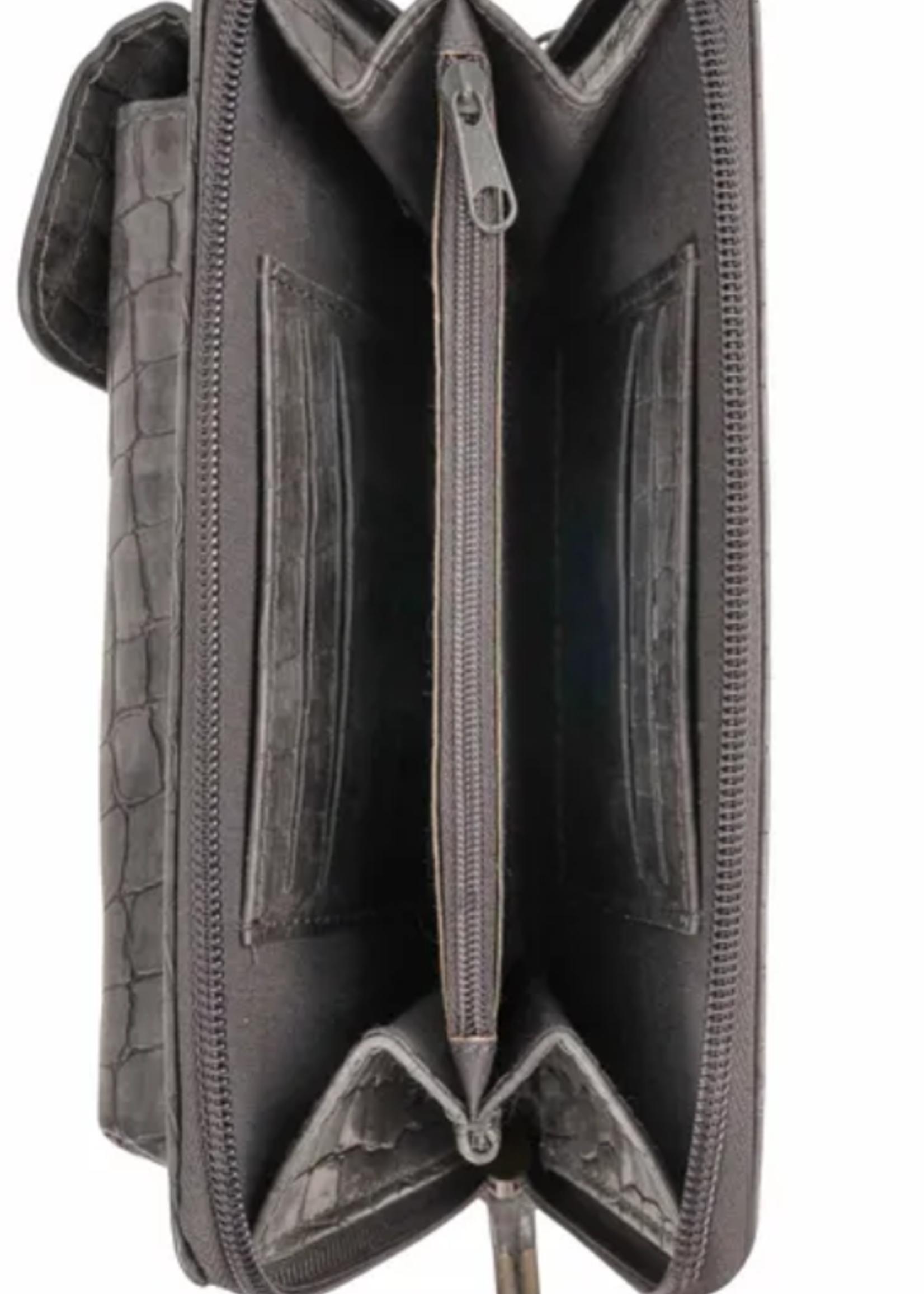Zusss Handig portemonnee-telefoontasje kroko antracietgrijs