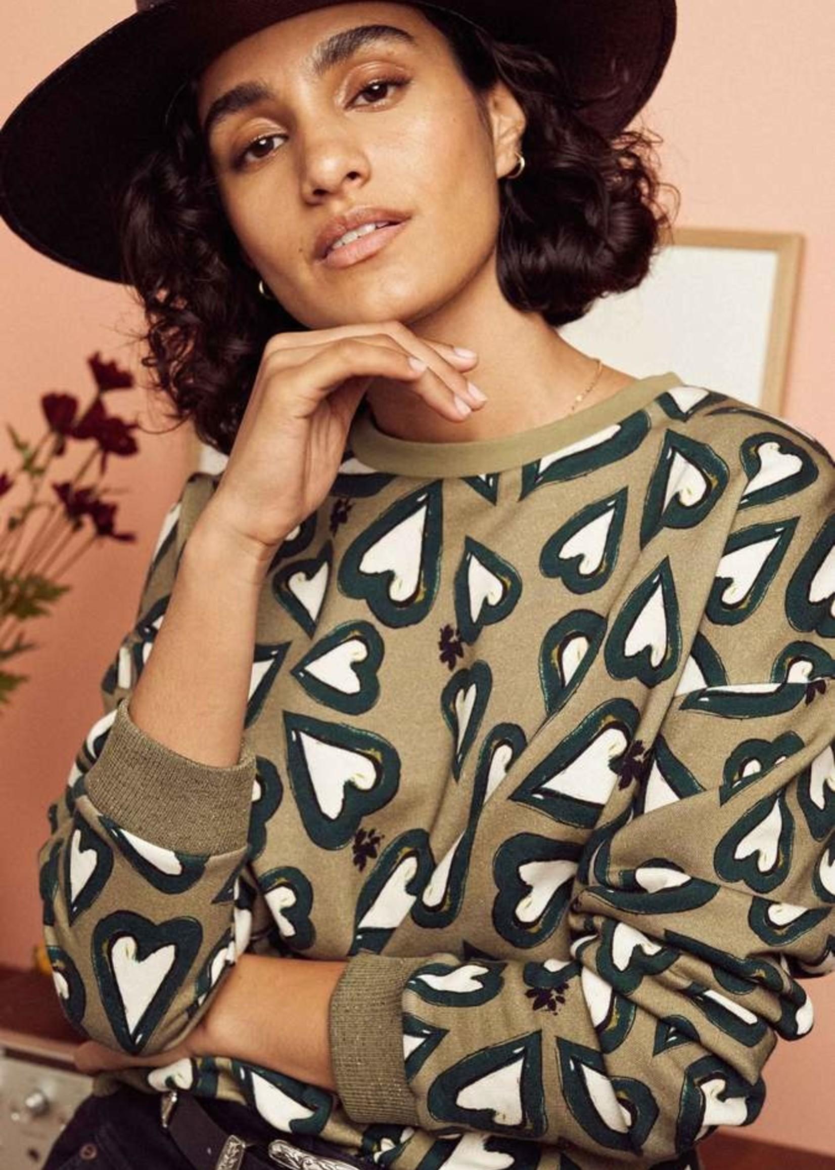 Pom Amsterdam Sweater Heartbeat khaki green