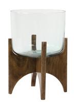 Light & Living Vaas op voet Ø31,5x43 cm JACE glas+hout bruin
