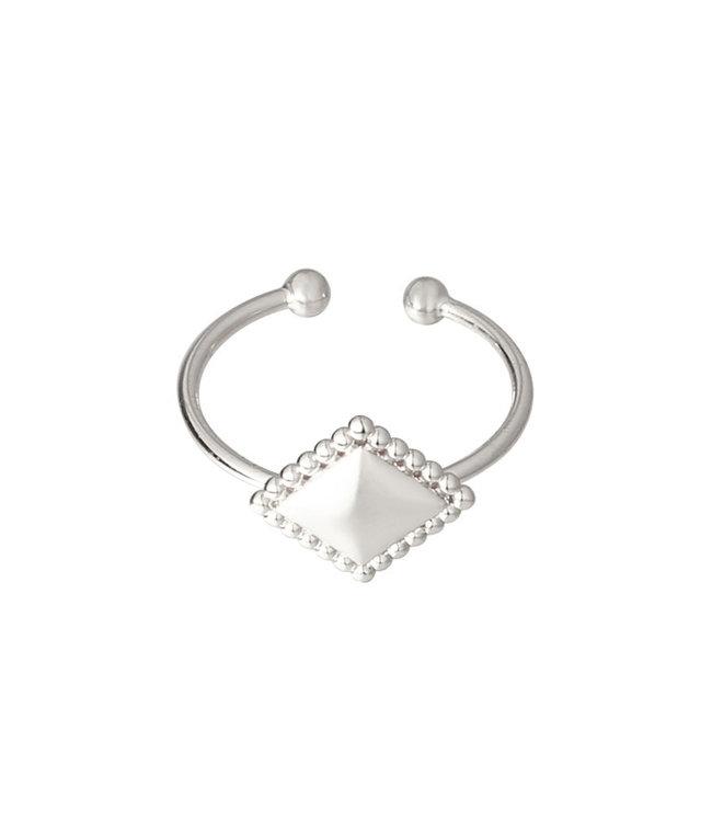 Silver Diamond Metal Ring
