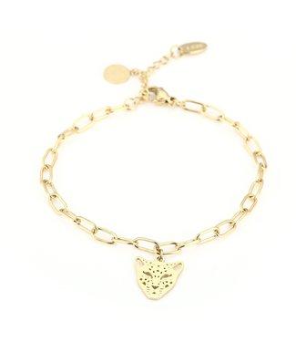Gold Open Panther Bracelet