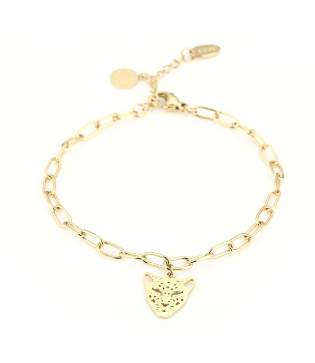 Gold Open Panther Bracelet