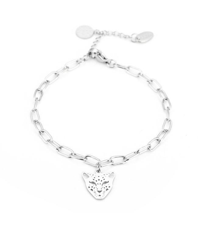 Silver Open Panther Bracelet