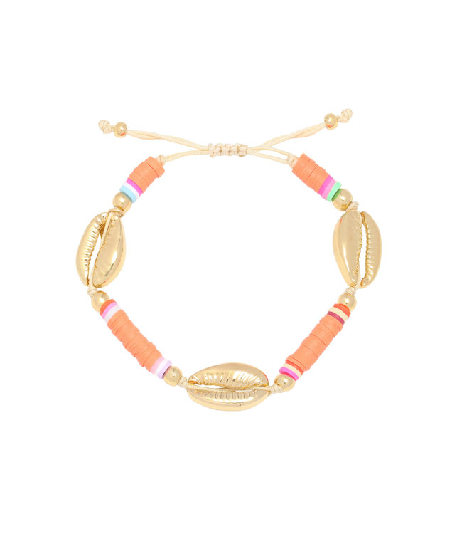 Valley Shell Bracelet / Coral Orange