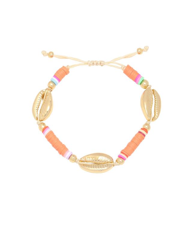 Valley Shell Bracelet / Coral Orange
