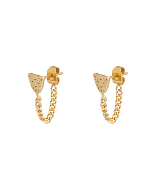 Gold Leopard Chain Stud Earrings