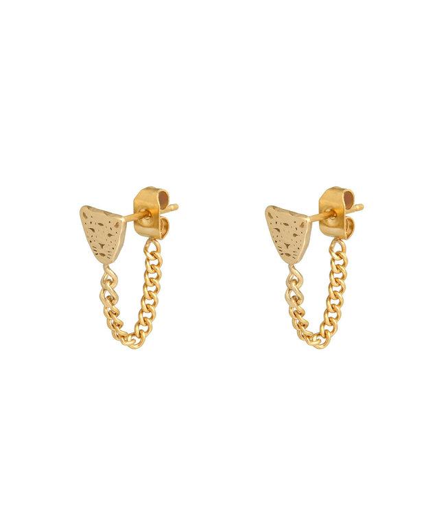 Gold Leopard Chain Stud Earrings