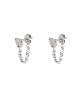 Silver Leopard Chain Stud Earrings