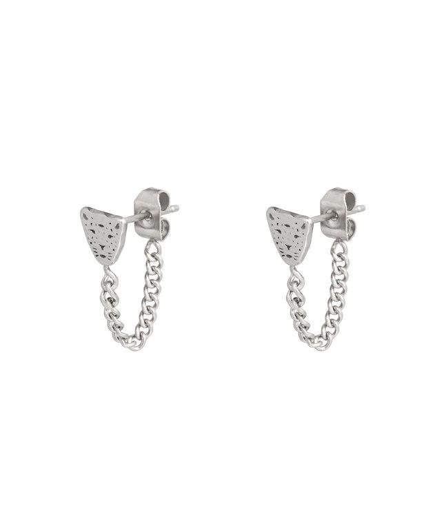 Silver Leopard Chain Stud Earrings