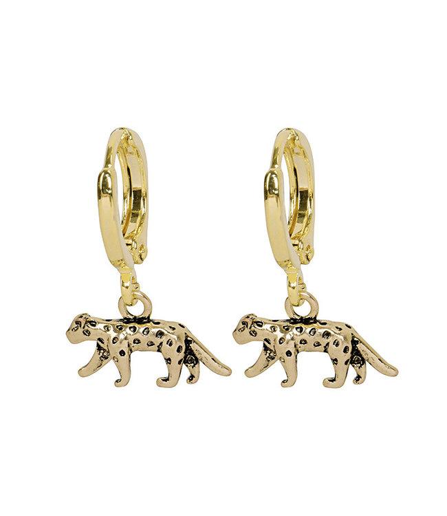 Gold Lucky Leopard Earrings