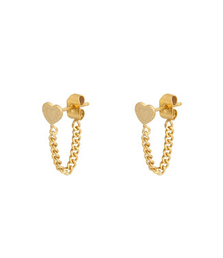 Heart Chain Stud Earrings