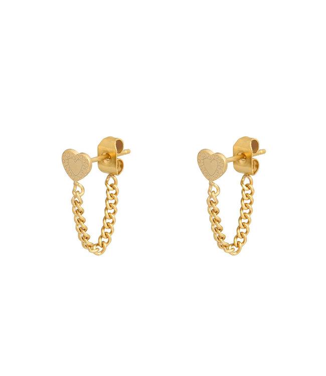 Heart Chain Stud Earrings