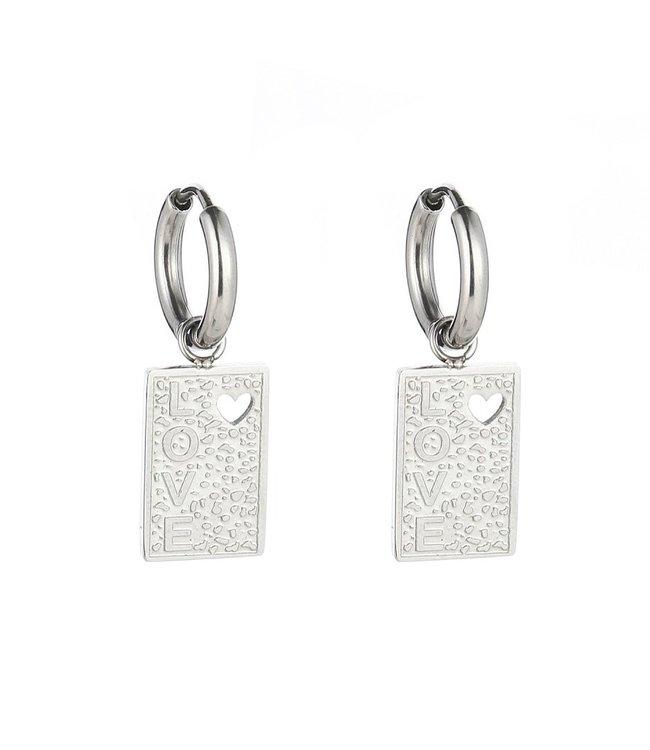 Silver Love Tag Earrings