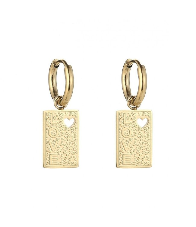 Gold Love Tag Earrings