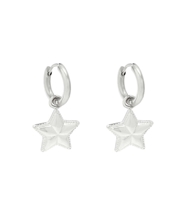 Silver You are My Star Earrings