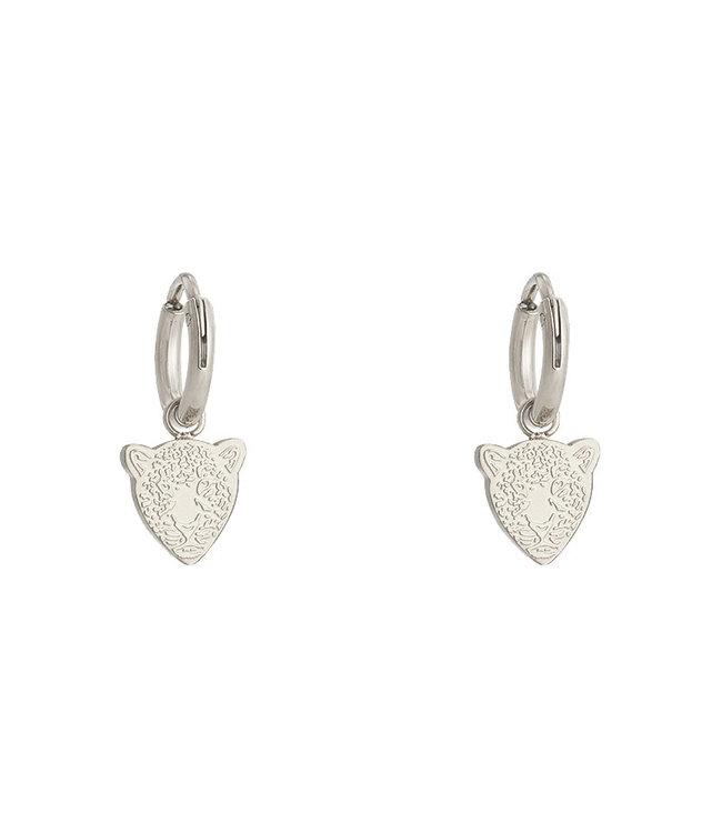Silver Famous Leopard Earrings