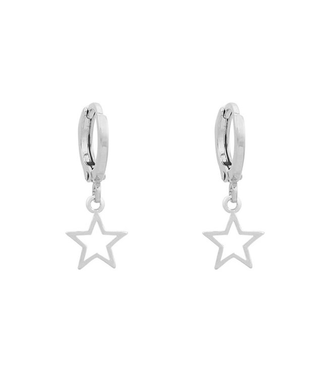 Silver Open Star Earrings