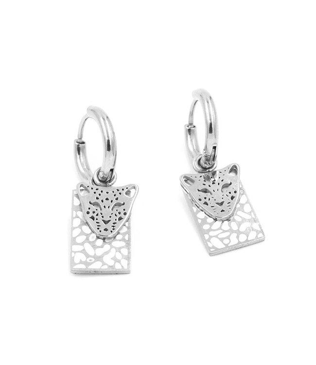 Silver Lof Cheetah Earrings