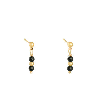 In A Row Stud Earrings - Black