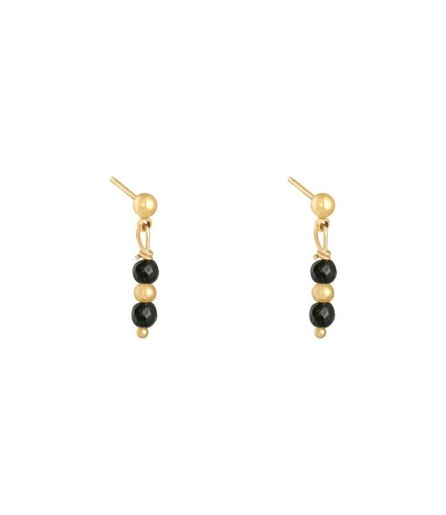 In A Row Stud Earrings - Black