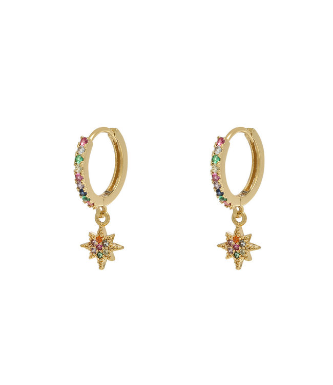 Zirconia Star Earrings / Rainbow