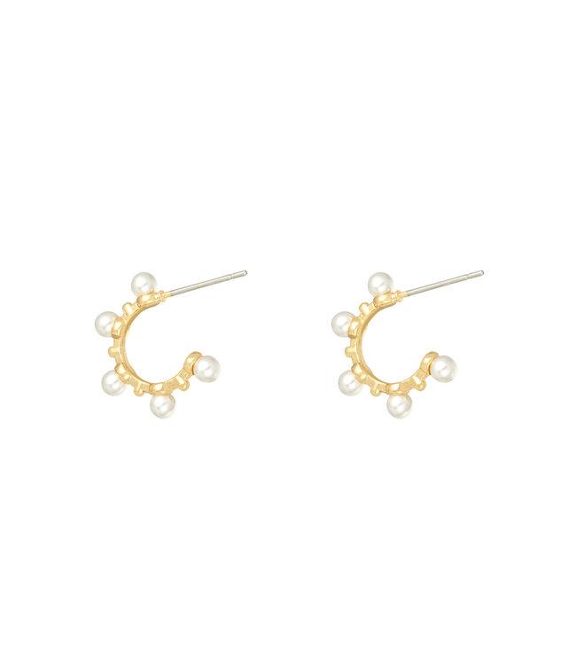Gold Cute Pearl Earrings