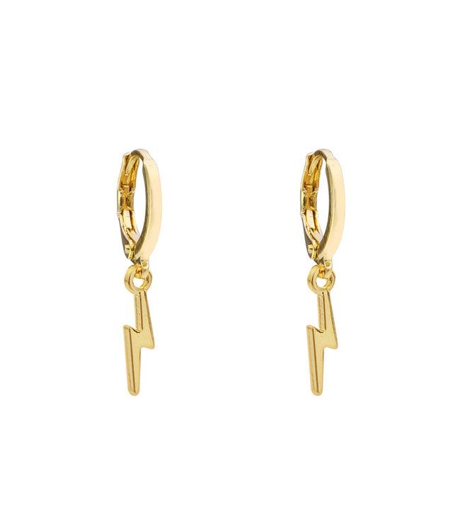 Gold Small Lightning Earrings