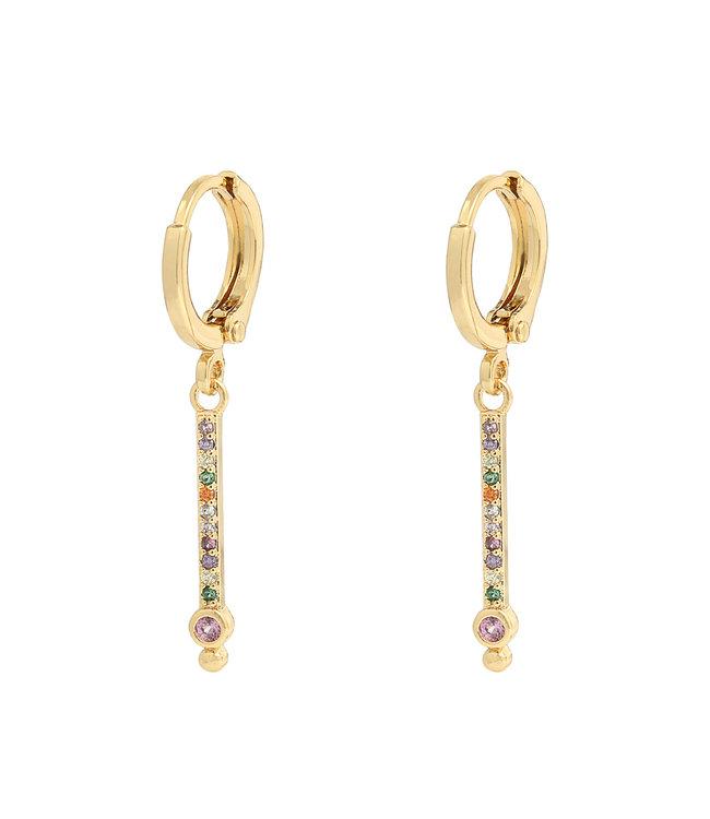 Rhinestones Bar Earrings