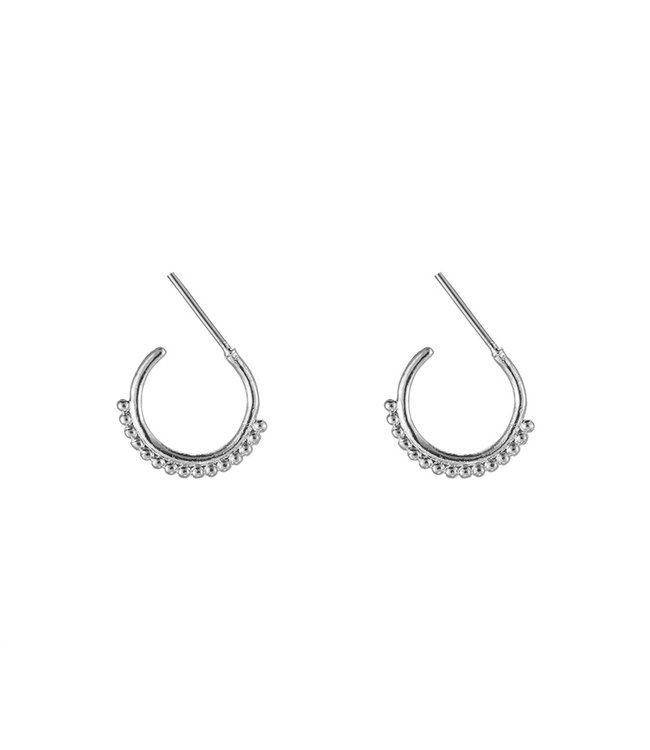 Silver Row of Dots Earrings