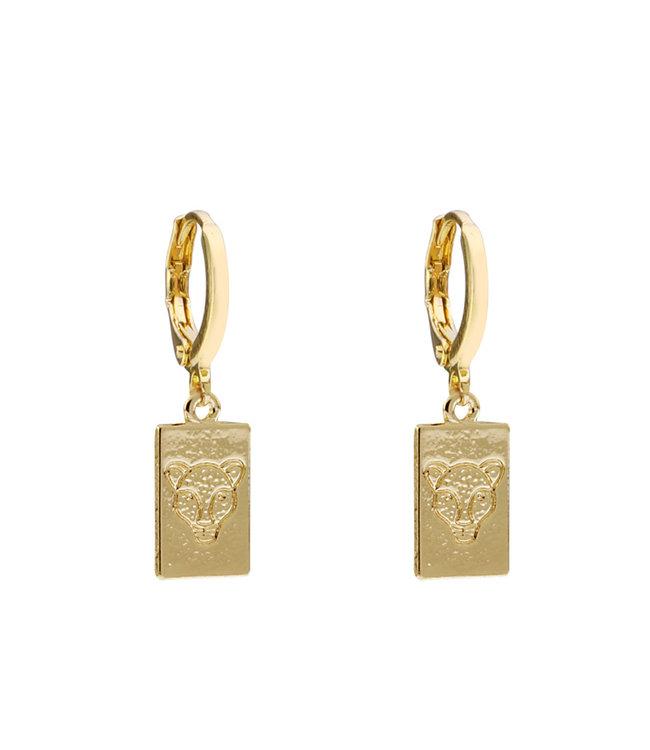 Gold Leopard Head Tag Earrings