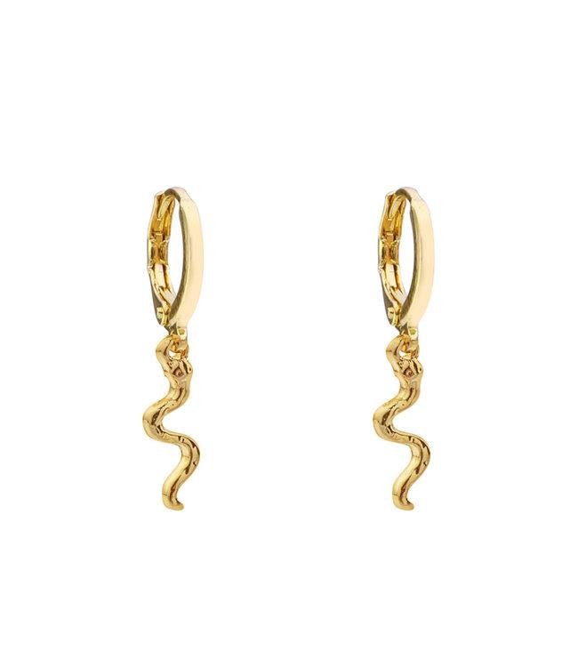 Gold Small Snake Earrings