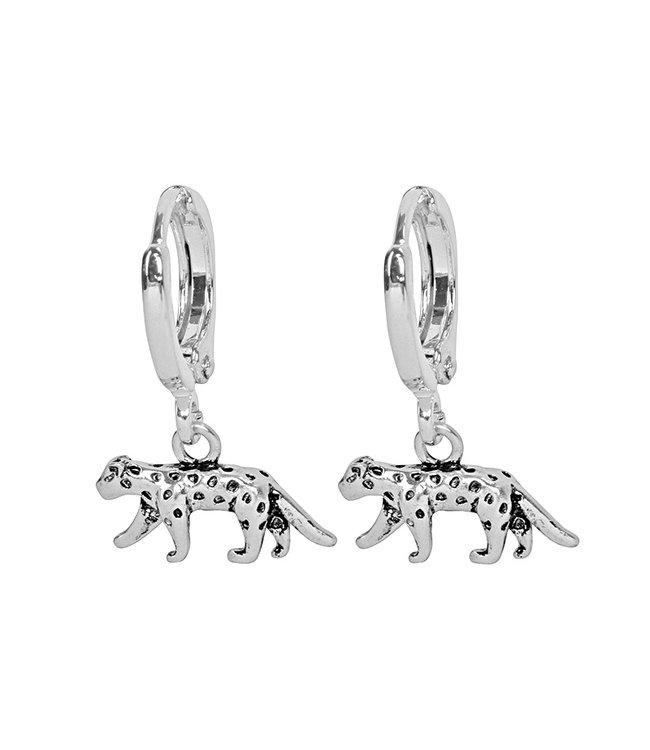 Silver Lucky Leopard Earrings