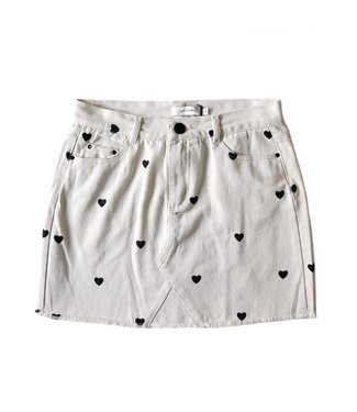 Nova Printed Hearts Skirt / Beige