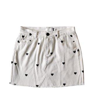 Nova Printed Hearts Skirt / Off White