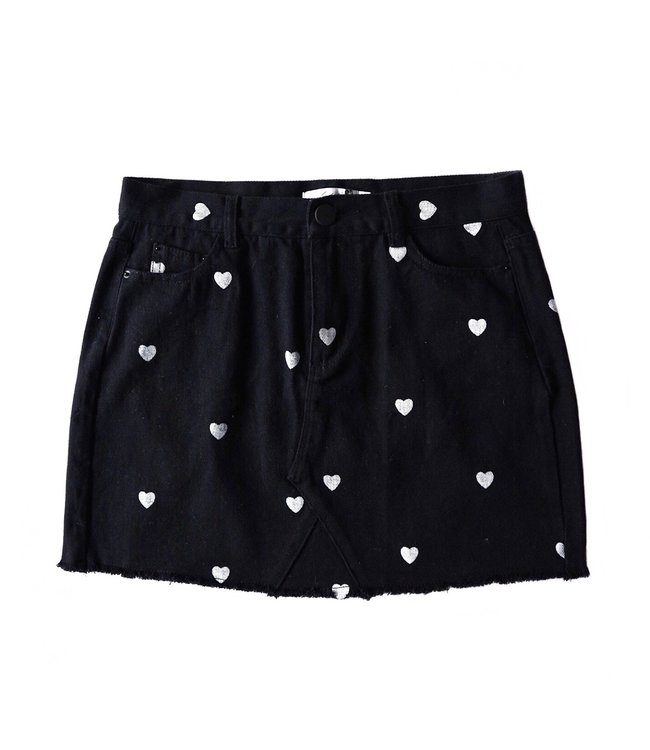 Nova Printed Hearts Skirt / Black