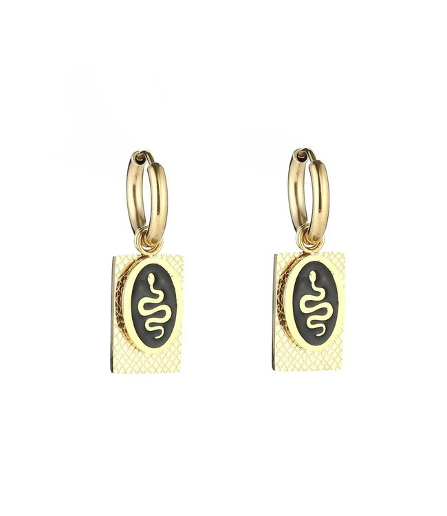 Gold Oval Snake Tag Earrings