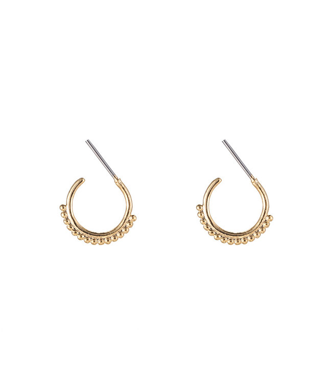 Gold Row of Dots Earrings