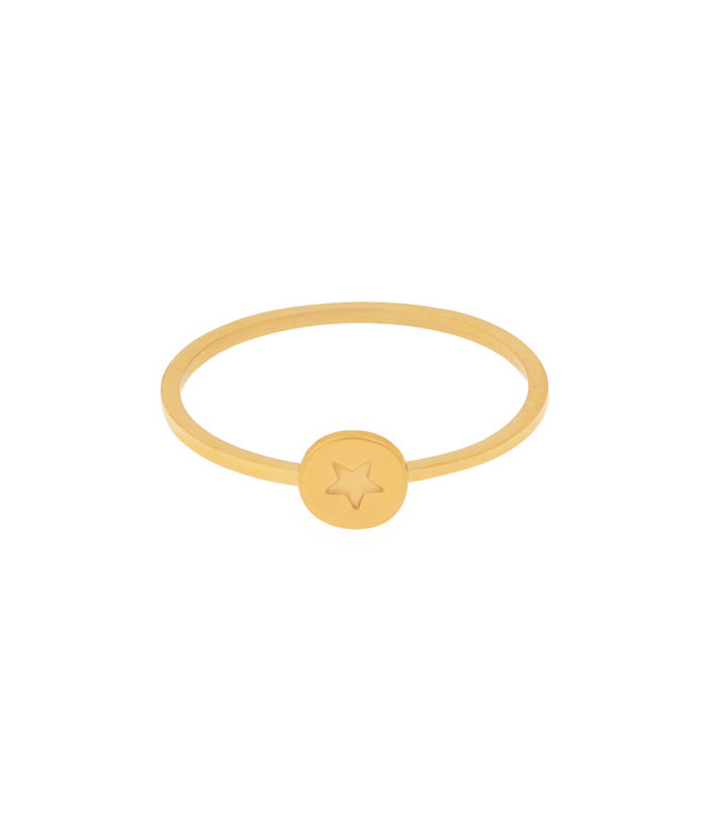 Gold Star Coin Ring