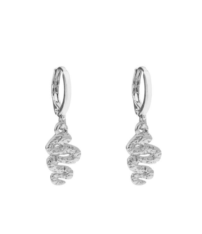 Silver Snake Earrings