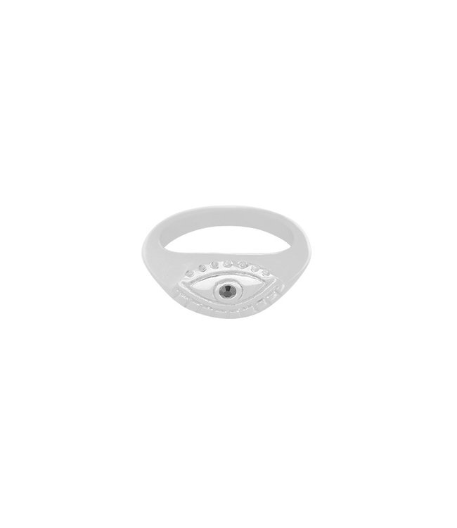 Silver Curious Eye Ring