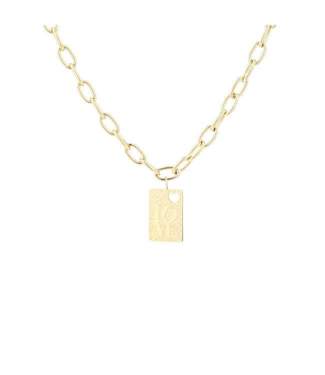 Gold Love Tag Necklace