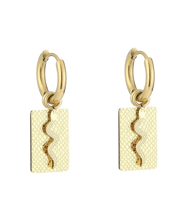 Gold Lof Snake Earrings