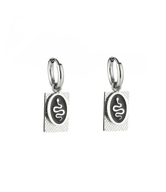 Silver Oval Snake Tag Earrings