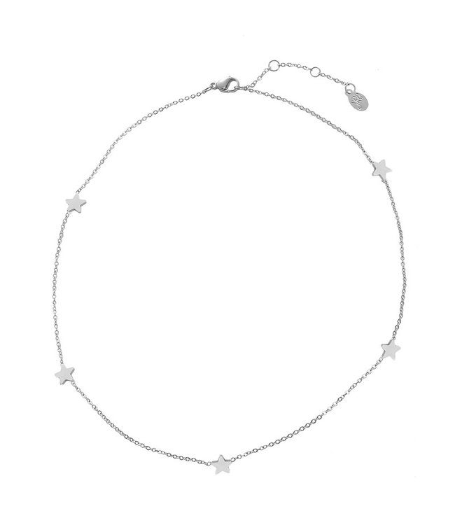 Silver Star Points Necklace