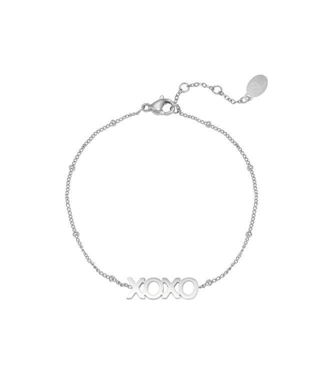 Silver Dotted XOXO Bracelet