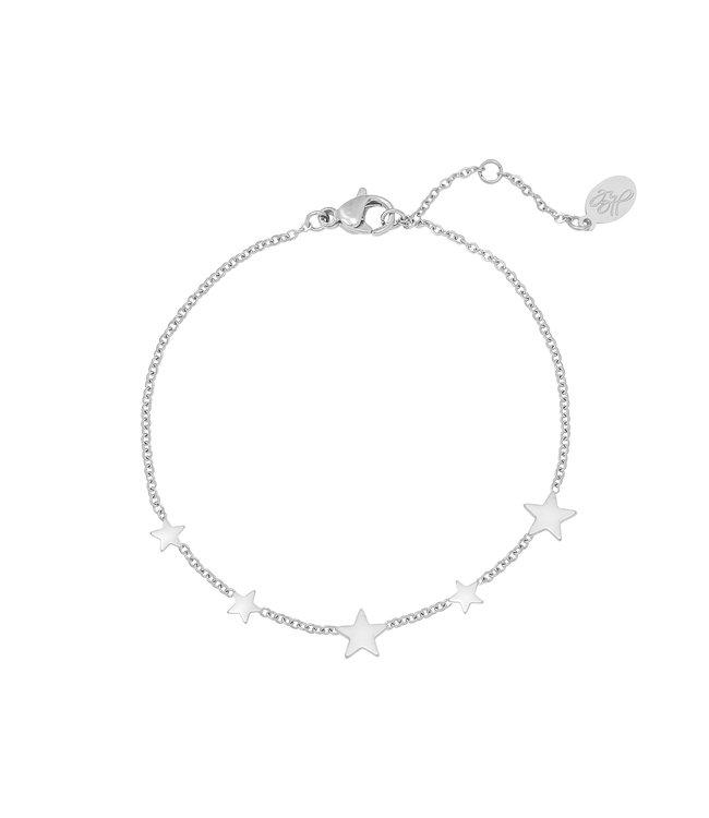 Silver Row of Stars Bracelet