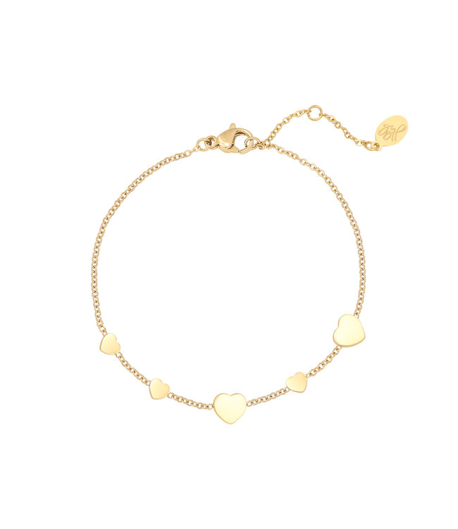 Gold Row of Hearts Bracelet